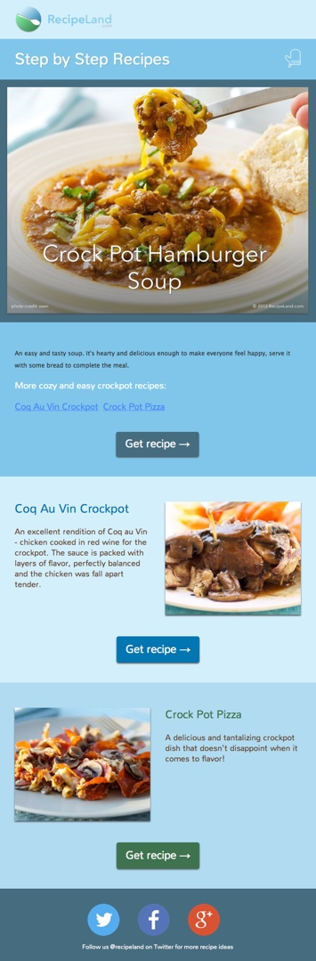 Step by Step Recipes sample e-newsletter