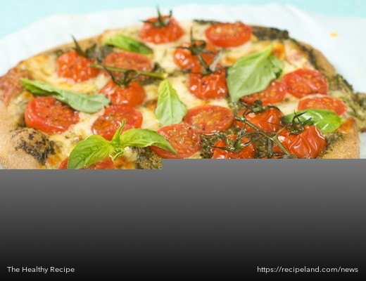 Cheesy Italian Basil Tomato Pesto Pizza