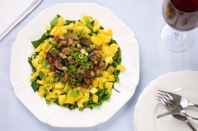 Spiced Eggplant and Lentil Mango Salad