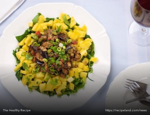 Spiced Eggplant and Lentil Mango Salad