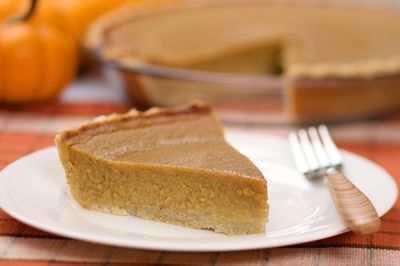 A slice of classic Thanksgiving Pumpkin pie