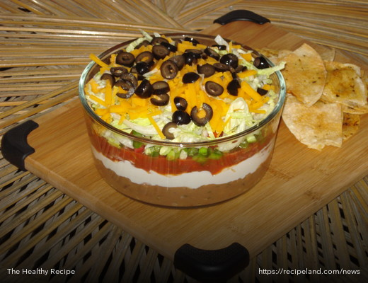 Seven Layer Taco Dip with Homemade Tortilla Chips