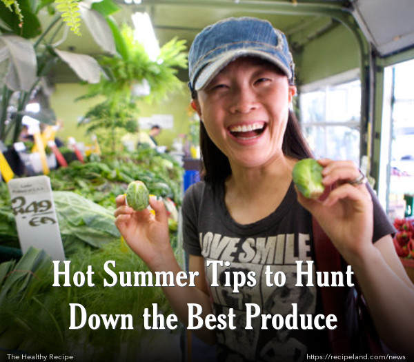 Cute girl selecting produce in Summer Market