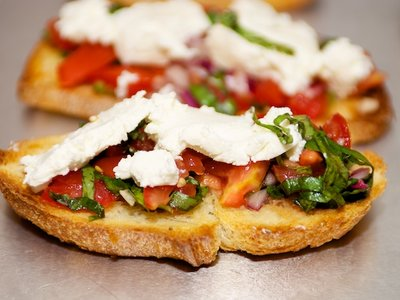 Cherry Tomato and Basil Bruschetta with Goat Cheese