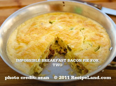 Impossible Breakfast Bacon Pie For Two