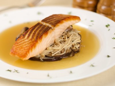 Crispy Salmon with Mushrooms