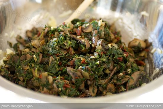 Add spinach mixture into cheese and egg mixture.