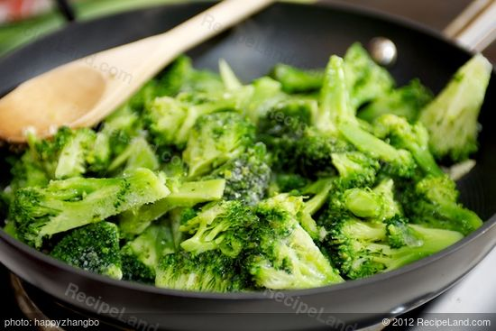 Cook broccoli pieces first,