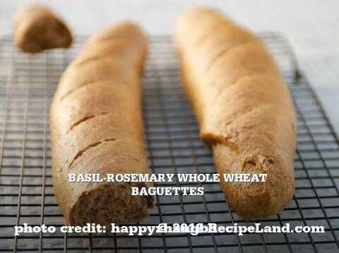 Basil-Rosemary Whole Wheat Baguettes