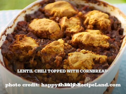 Lentil Chili Topped with Cornbread