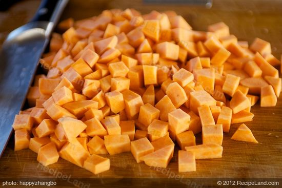 Dice the sweet potatoes.