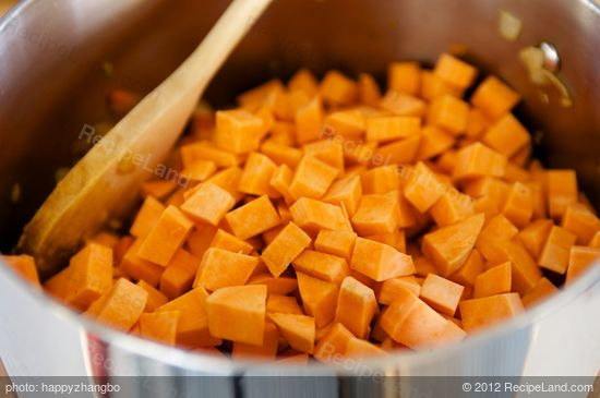 Add the sweet potatoes.