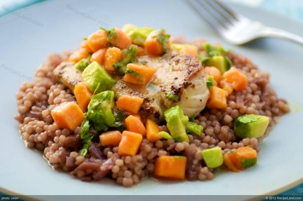... Mahi mahi, Red Onion Couscous, Chunky Papaya Avocado Salsa Recipe