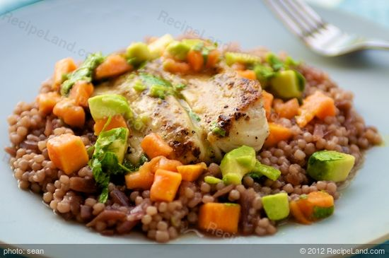 Grilled Mahi mahi, Red Onion Couscous, Chunky Papaya Avocado Salsa ...
