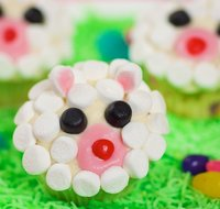 Easter Lamb Face Cupcake