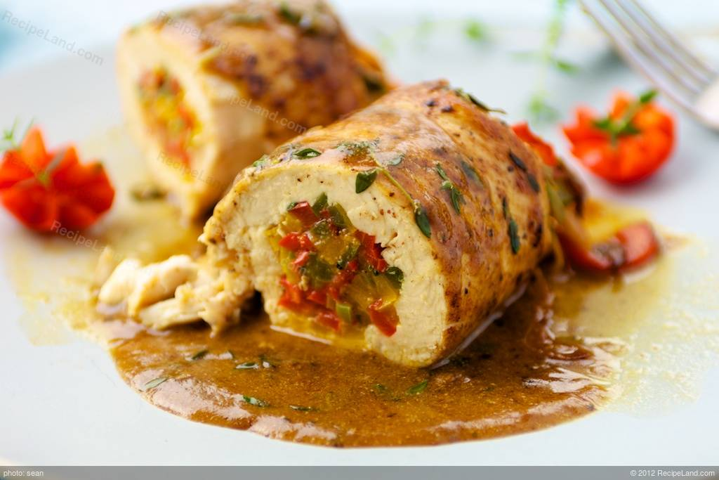 Stuffed Chicken Breasts With Sweet Peppers And Thyme Recipe