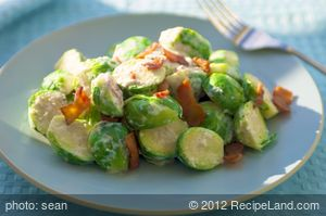 Creamy Brussels Sprouts with Bacon Horseradish Sauce