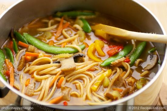 and the noodle soup is heated through.