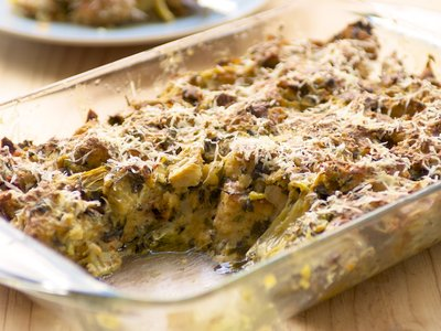 Spinach, Artichoke and Swiss Cheese Bread Pudding
