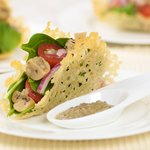 Cherry Tomato, Baby Spinach and Mushroom Salad In Cheese Baskets