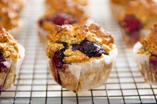 Oat Bran Blueberry and Nut Muffins