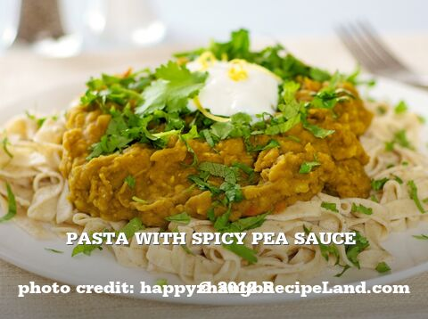 Pasta with Spicy Pea Sauce