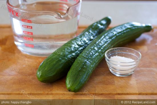 First you need cucumber, water and salt.