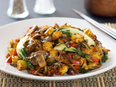 Bok Choy, Mushrooms and Tofu Stir-Fry