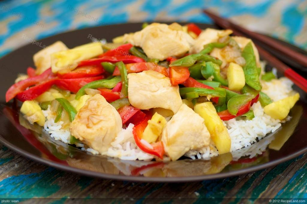 Asian Chicken Peppers Pineapple And Rice