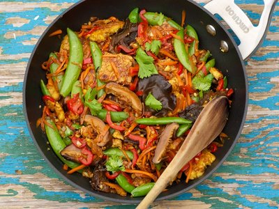 Sugar Snap Pea, Shiitake and Tofu Stir-Fry