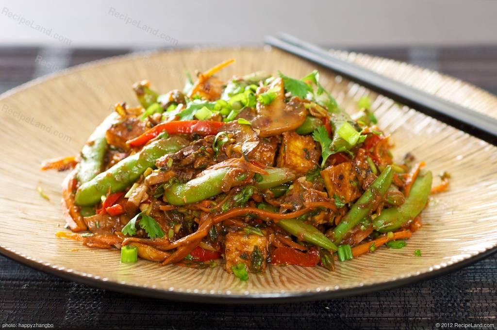 Sugar Snap Pea, Mushroom and Tofu Stir-Fry recipe