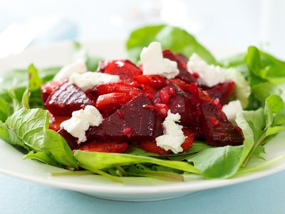 Roasted Beet and Carrot Salad with Arugula and Light Vinaigrete