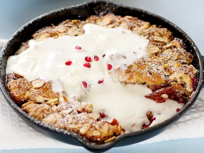 Rhubarb and Pomegranate Cobbler