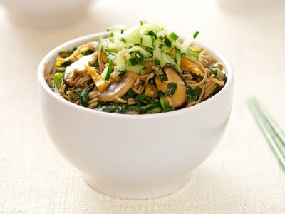 Soba Noodles, Mushroom and Tatsoi with Sweet-Sour Cucumber
