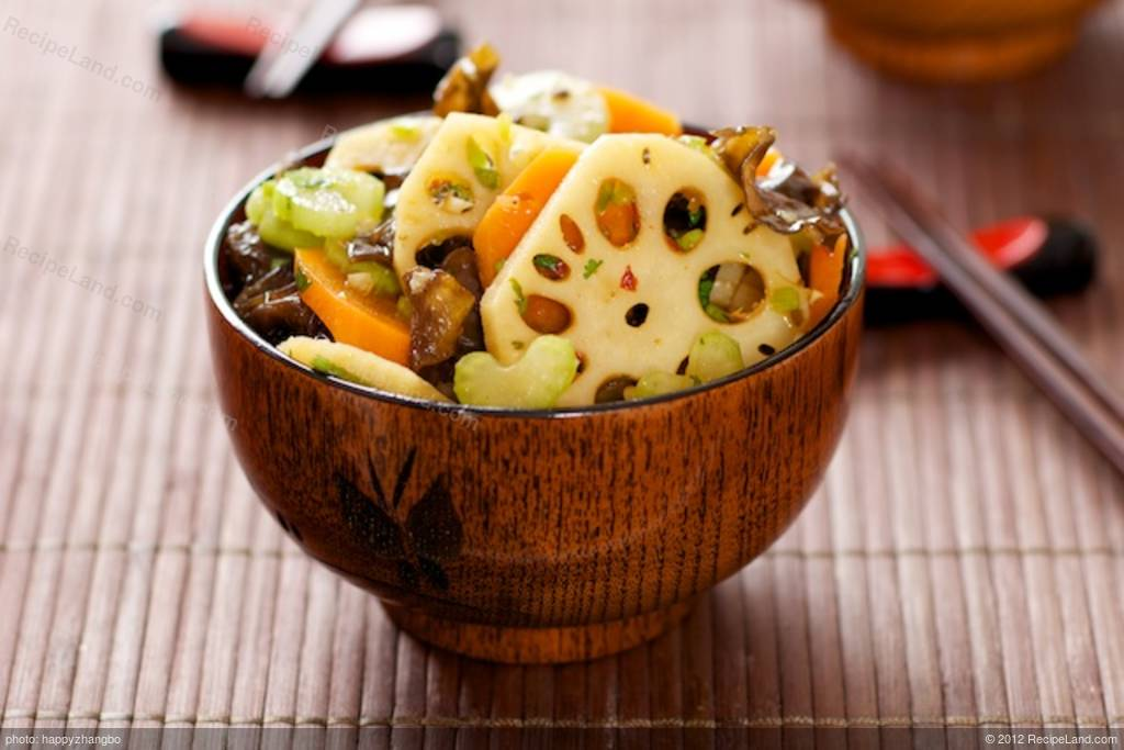 Lotus Root And Wood Ear Salad With Soy Ginger Dressing Recipe