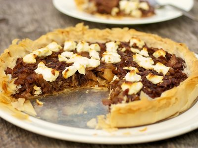 Caramelized Onion and Fennel Phyllo Tart with Goat Cheese