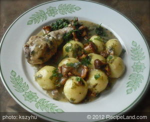 Chicken Drumstick in Chanterelle Sauce with steamed Potato Dumplings