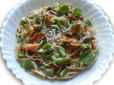 Chow Mein in Chanterelle Sauce with Fresh Herbs