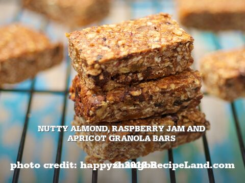 Nutty Almond, Raspberry Jam and Apricot Granola Bars