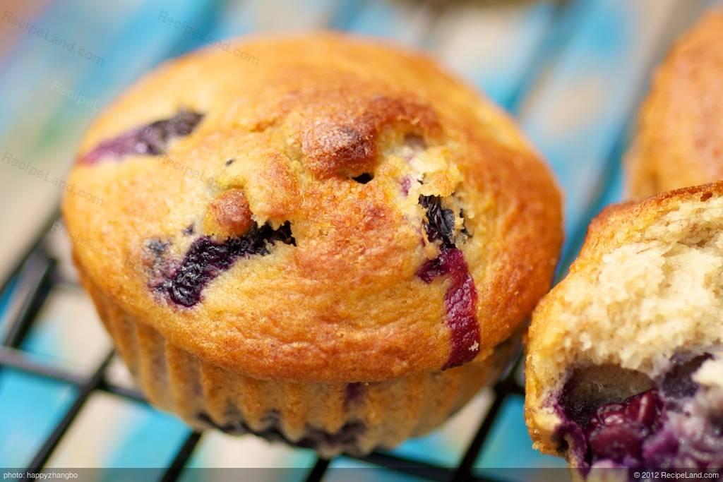 Moist Blueberry Coffee Cake Muffins (Low Fat) Recipe