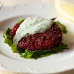 Beet Pancakes with Yogurt Dill Sauce recipe