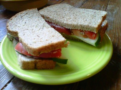 Simple Cucumber and Tomatoes sandwich