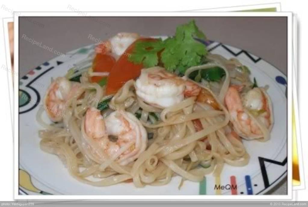 Stir-fry Shrimp, Vegetables with Noodles Recipe