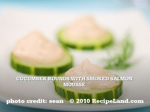 Cucumber Rounds with Smoked Salmon Mousse