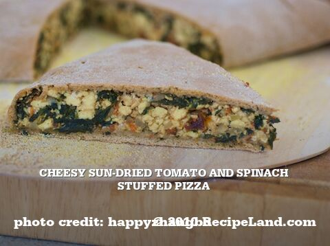 Cheesy Sun-Dried Tomato and Spinach Stuffed Pizza