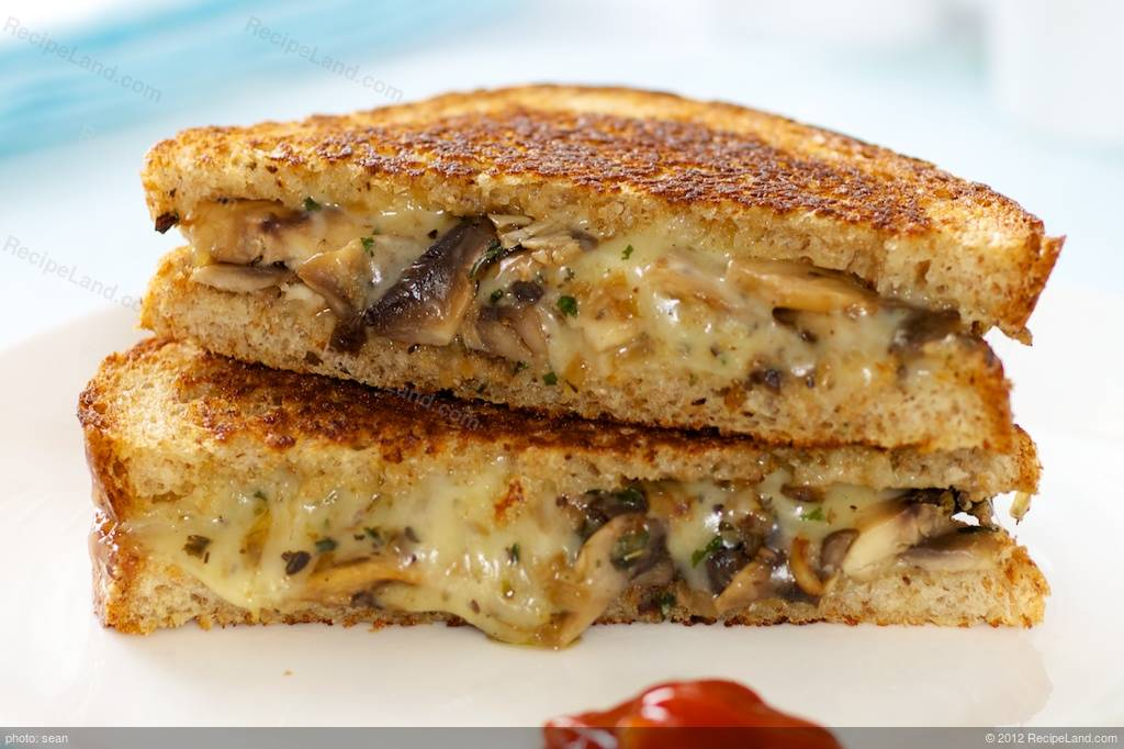 Browned Mushroom Grilled Cheese Sandwich Recipe