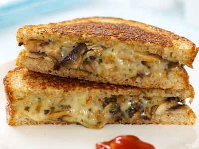 Browned Mushroom Grilled Cheese Sandwich