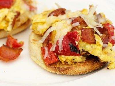 Roasted Red Pepper, Bacon and Egg McMuffins for Two
