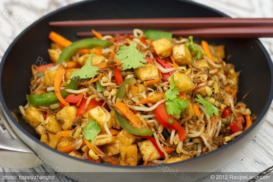 Tofu Bean Sprouts And Bell Pepper Stir Fry Recipe