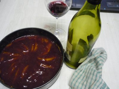 Pear Almond Clafouti with Red Wine Glaze